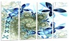 Blue and Green Fractal Flowers - Digital Art Floral Metal Wall Art
