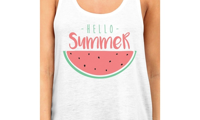1317a588f3067 365 Printing Hello Summer Watermelon Womens White Graphic Tank Top For  Summer