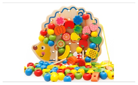 Kid Wooden Hedgehog Board+Colorful Fruit String Bead Block Puzzle Toy b878852d-af1e-4277-8db1-73098098a16d