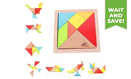 Educational Toy Colorful Wooden Brain Training Tangram Puzzle