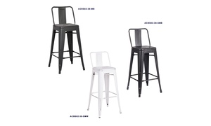 """Industrial-Style 24"""" or 30"""" High Steel Bar Stool with Back"""