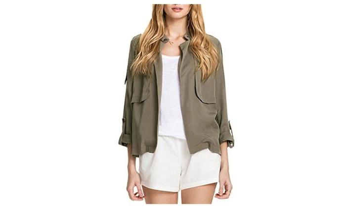 La closure Womens Classic Short Bomber Jacket Coat