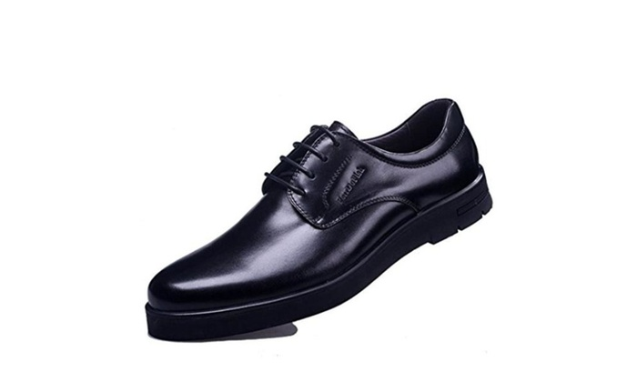2016 new men's men's business casual shoes first layer of leather lace round - Black / 42 EU