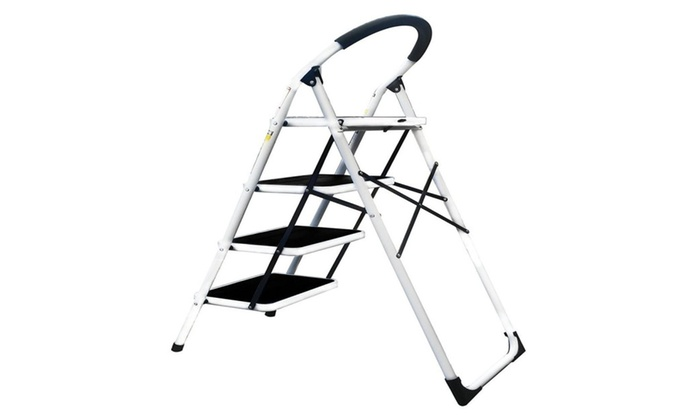 LavoHome 330lbs UpperReach Reinforced MetalFolding 4 Step Ladder Stool