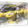 Black and Yellow Speedster Metal Wall Art 28x12