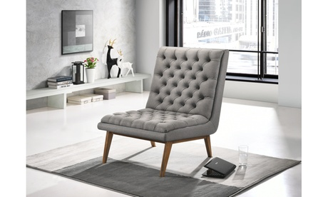Annetha Upholstered Walnut Wood Chair And Ottoman Set