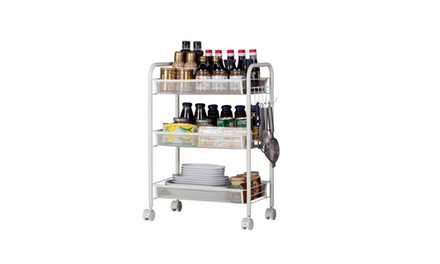 3/4/5 Tier Rolling Kitchen Storage Cart Shelf Rack With Hook