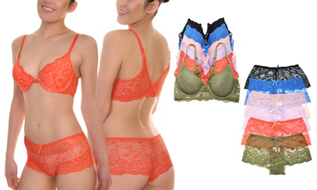Matching Bras and Panties Set with Floral Lace Design SOLD SEPARATELY (6-Pack)