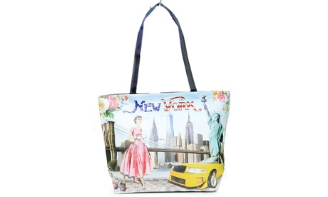 Vintage Look Pin Up New York Top Handle Handbag Purse Vegan Leather (Goods Women's Fashion Accessories Handbags) photo