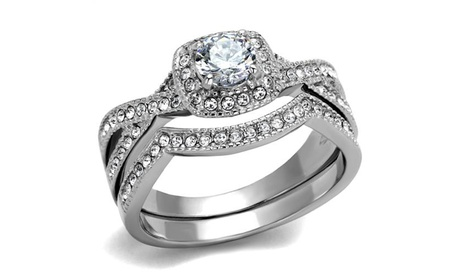 Womens Round Cut .81 Ct Zirconia Stainless Steel Halo Wedding Ring Set