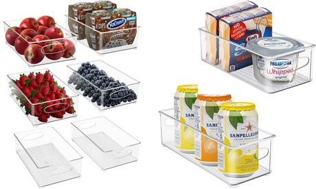 Stackable Plastic Storage Bin Set Clear Box Containers Fridge & Pantry Organizer