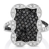 1cttw Black and White Diamond Cluster Ring in Sterling Silver