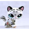 Littlest Pet Shop Tiger Cat Kitty Striped Black White Tiger Rare Cat