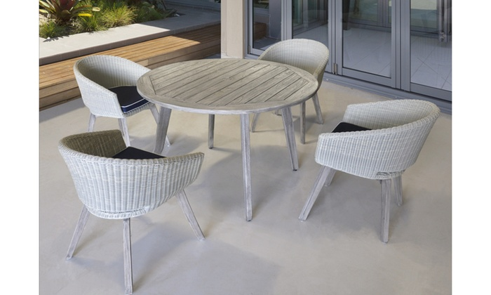 Courtyard Casual Driftwood Gray Teak La Jolla Outdoor Dining Chair with  Cushion Grey Modern - Up To 40% Off On Courtyard Casual Driftwood Gr... Groupon Goods