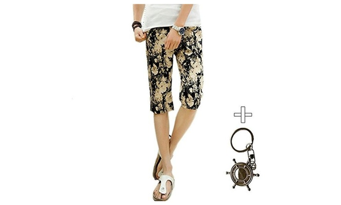 JIES Men's Summer Floral Youth Shorts Casual Beach Boardshorts