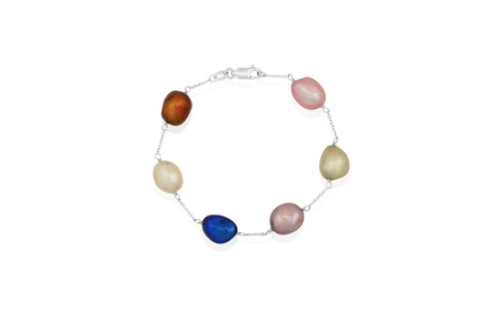 PearlGirl STG Multi-colored Freshwater Baroque Pearl Tin Cup Bracelet c773df35-b335-4437-b049-e90932a79eb9