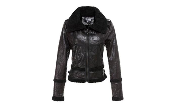 Vshop-2000 Womens Faux Chamois Leather Lamb Fur Lining Jacket Coat