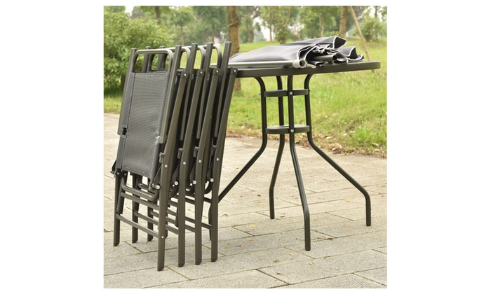 outdoor patio table with chairs and umbrella set gray groupon rh groupon com outdoor patio table with six chairs Small Patio Table and Chairs