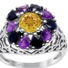 2.60 CTW genuine citrine, sapphire and amethyst sterling silver ring