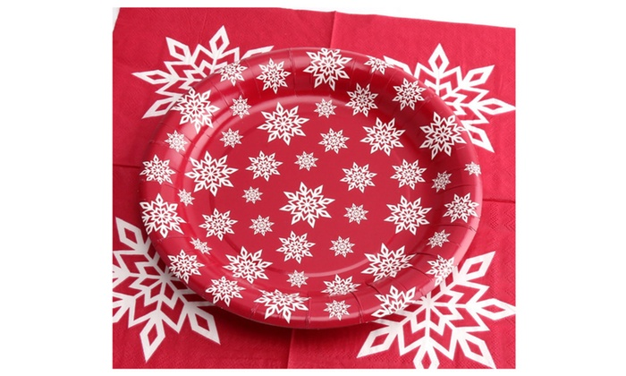 ... 9\  Christmas 18pcs Paper Plates and 25pcs Napkins Set Snowflakes ...  sc 1 st  Groupon & 9\