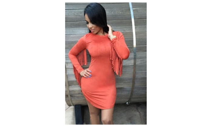 Women's Orange Fringed Long Sleeves Faux Suede Mini Dress – one size