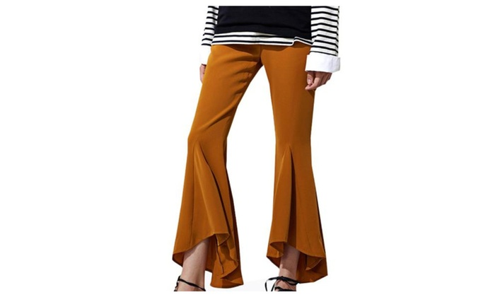 Women's High Rise Boot Cut Fashion Buttons Up Trousers