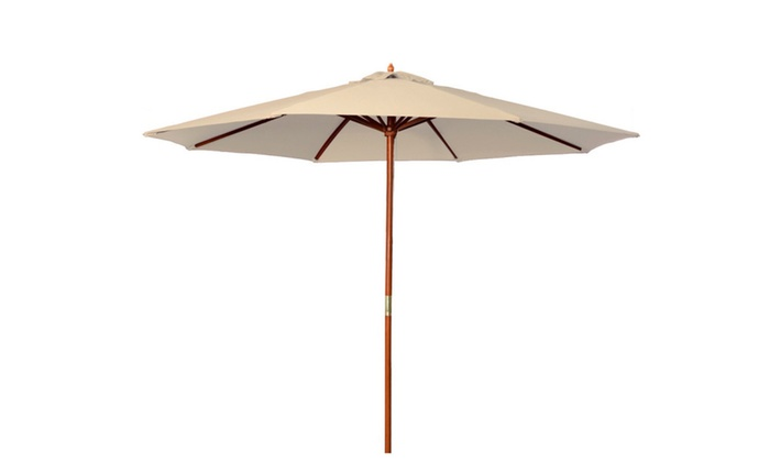 Up To 47 Off On 9 Ft Wooden Patio Umbrella W Groupon Goods