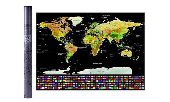 Up To 81% Off on Scratch Off World Map Poster | Groupon Goods Detailed World Map Poster on