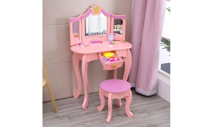 Kids Wooden Vanity Table & Stool Set, Princess Makeup Dressing Table