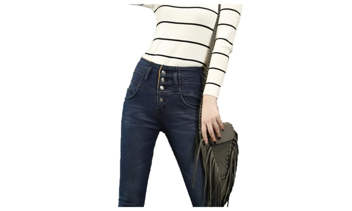 Women's Simple Long Stylish Casual High Rise Jeans