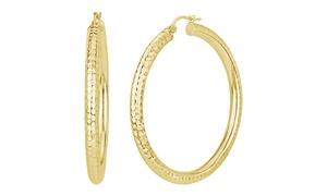 Sterling Silver 50MM Diamond Cut Hoop Earrings