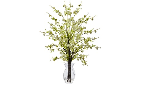 Nearly Natural Cherry Blossom in Glass Vase - White 17857667-74fc-4f92-bfc2-f1fdcc3c20e8