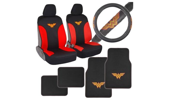 Custom Auto Crews Wonder Woman Car Seat Covers Floor Mats Steering Wheel