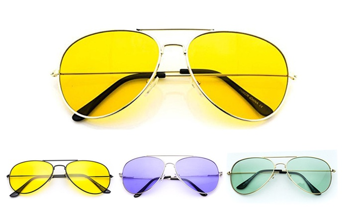 Retro Tint 70's Classic Aviator Style Sunglasses Multiple Colors