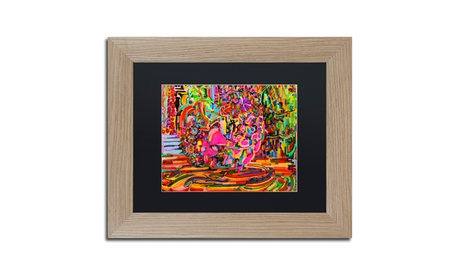 Josh Byer 'Nude Woman As A Bowl Of Fruit' Matted Birch Framed Art 71a97495-3f28-4548-a331-002a8123ea63