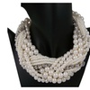 Multi Layer String Twist Faux Pearl Choker Pendant Necklace