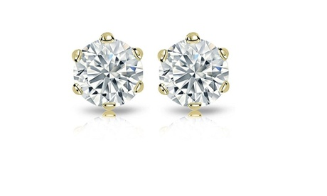 14k Yellow Gold 2ct TDW Round Diamond 6-prong Certified Stud Earrings (H-I, I2)