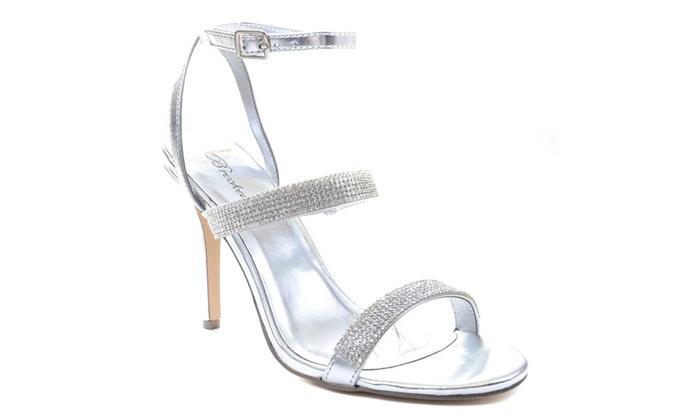 Silver Jeweled Strappy Anklet Platform Sandal Formal Heels | Groupon