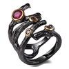 Rolling Braided Gothic Hollow Fuchsia Purple Black Gold Women's Ring