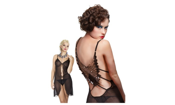 Miorre Sheer Black Babydoll with Embroidered Detail on Back, Matching