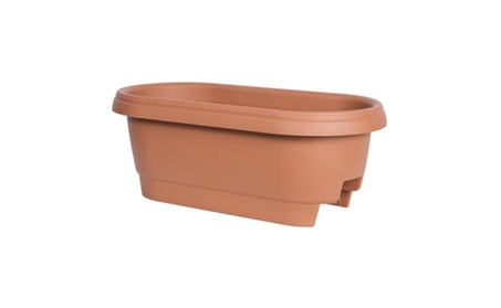 Fiskars 477241-1001 24 in. Clay Deck Rail Planter f7c6876f-d2cc-449d-a674-6d73b48e174a