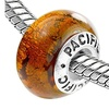 Sterling Silver 'Golden Nugget' Murano Style Glass Bead