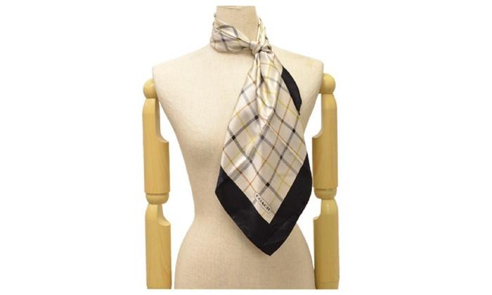 COACH Plaid Square 100% Silk Scarf F84994