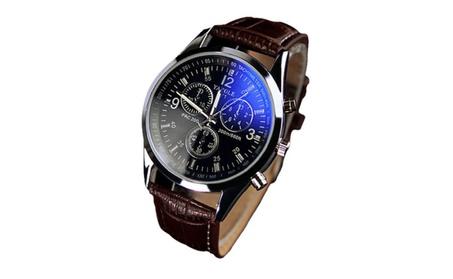 Men Fashion Luxury Faux Leather Blue Ray Glass Quartz Analog Watch bf72e389-865a-4fcc-821c-880742267ef5