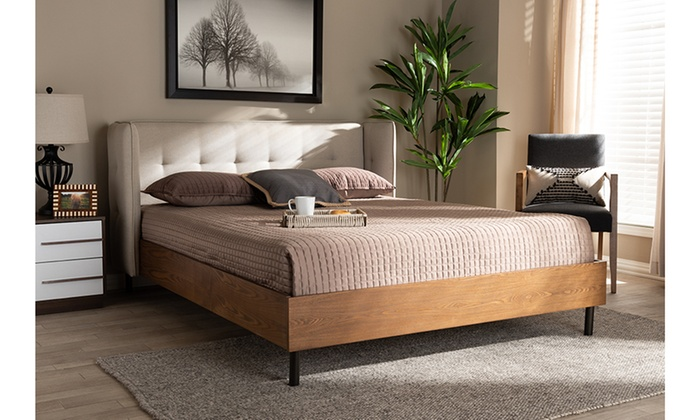 Catarina Fabric Upholstered Walnut Wood King Size Platform Bed Groupon