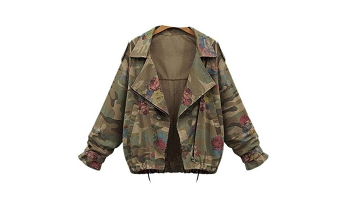Womens Casual Bat Sleeve Zipper Floral Camouflage Fashion Jacket Coat Suit Blazer