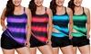 Women's Plus Size Bathing Suits Color Block Print Tankini Swimsuits