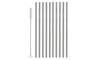 10 Pack Stainless Steel Straws With Cleaner Straight Reusable Drinking Straws