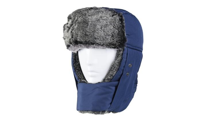 Weanas Unisex Winter Comfortable Warm Ear Flap Skiing Trooper Blue Hat  84f4ed8a8d16