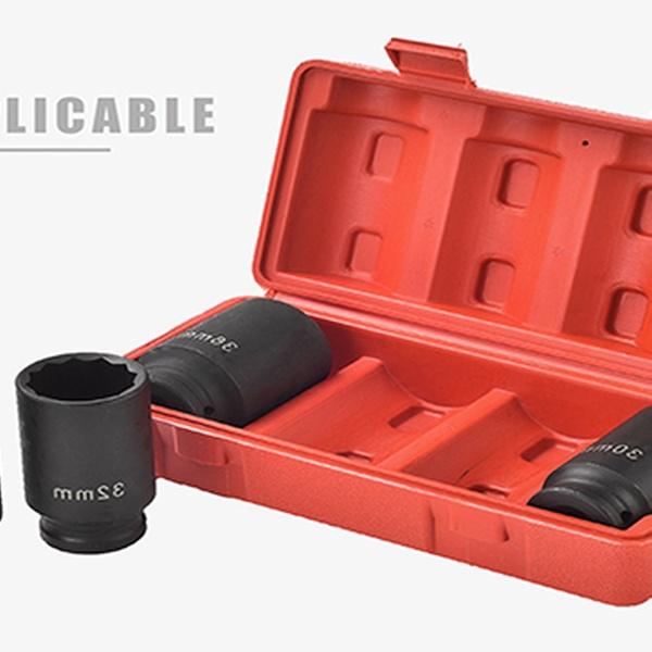 12 Point 4pcs 1//2/'/' Drive Deep Spindle Axle Nut Socket Set 30mm 32mm 34mm 36mm